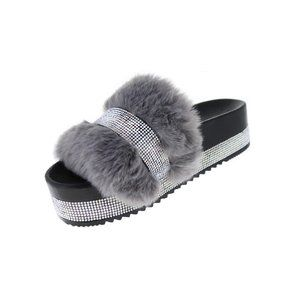 Gray Faux Fur & Rhinestone Sandal NIB